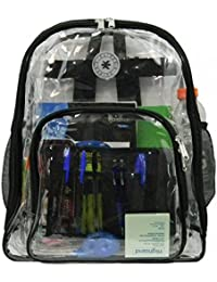 Heavy Duty Clear Backpack See Through Student Bookbag Stadium Security Transparent Workbag
