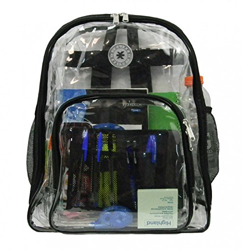 Heavy Duty Clear Backpack Durable See Through Student School Bookbag Quality Transparent Workbag Easy Stadium Security Check Bag Daypack Black by K-Cliffs (Image #10)