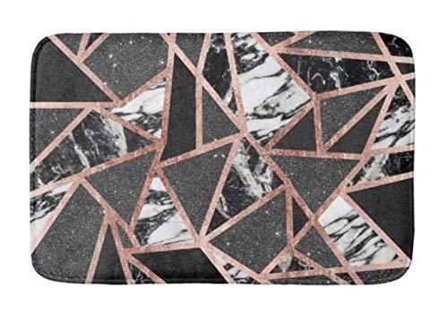 Yesstd Modern Rose Gold Glitter Marble Geometric Triangle Absorbent Super Cozy Bathroom Rug Doormat Welcome Mat Indoor/Outdoor Bath Floor Rug Decor Art Print with Non Slip Backing 30