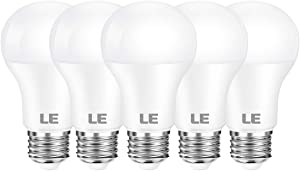 LE LED Light Bulbs, 60W Equivalent 800 Lumens 5000K Daylight White Non-Dimmable, A19 E26 Standard Medium Base, 9 Watt UL Listed, 15000 Hour Lifetime, Pack of 5