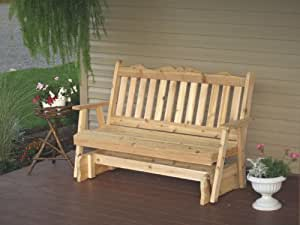 Cedar 4 Foot Royal English Porch Glider - STAINED- Amish Made USA -Mushroom