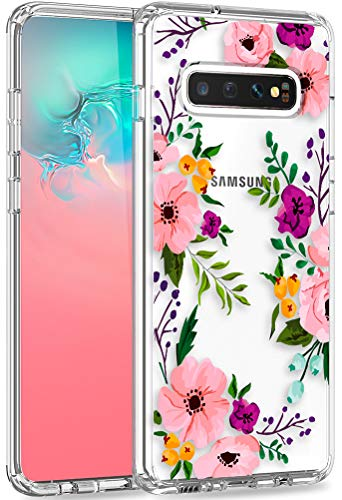 Galaxy s10 Case with Kickstand, LUHOURI Clear Case Girls Women Pink Floral Heavy Duty Protective Hard PC Back Case with Shockproof Slim TPU Bumper Designed for Samsung S10