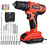 20V Cordless Drill Driver, JUEMEL 100Pcs Accessories Electric Power Drill Set 320 in-lbs Torque, Variable Speed, 3/8 inches Keyless Chuck, Built-in LED, 2000mAh Battery and Fast Charger