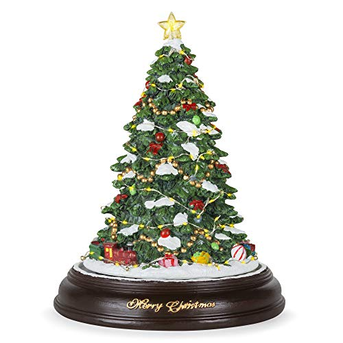 (Best Choice Products Pre-Lit Tabletop Rotating Musical Christmas Tree Festive Holiday Decoration w/ 9 Songs - Green)