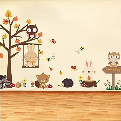 Adesivi Murali Animali Per Bambini.Tl Liang Foresta Gufo Altalena Farfalla Coniglio Scoiattolo