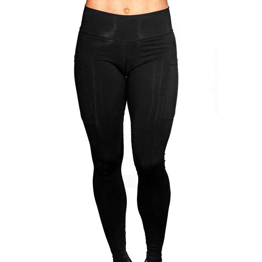 BAOHOKE Women's Solid Workout Leggings, Fitness Sports, Running, Yoga Athletic Pants(Black,XL)