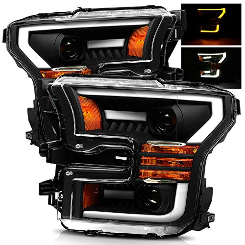 AlphaRex Black For 15-17 Ford F150 Halogen Type Switchback DRL/Signal LED Tube Dual Projector - Dual Ford Projector