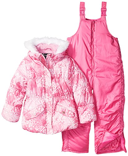 Rothschild Little Girls' Snowsuit With Printed Puffer Coat, Pink Lace Leopard, (Rothschild Girls Snowsuit)