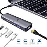 USB-C Multi-Port Adapter for Apple MacBook Pro 13/15 2018,2017,2016(Thunderbolt 3), iPad Pro 2018,MacBook Air 2018 Dongle,USB C Hub,HDMI 4K,Gigabit Ethernet,2 USB 3.0,Type-C PD Charging Dock