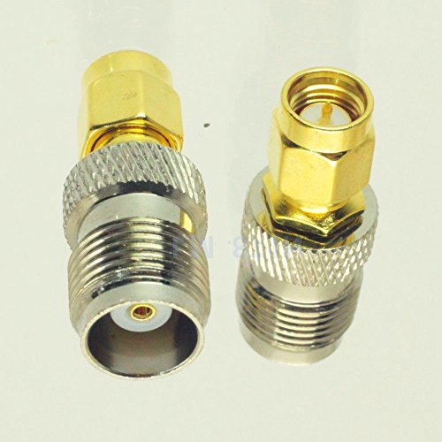 - 2pack SMA-M-male-Plug to TNC-F-Female-Jack Silver High Value pure brass Connector adapter coupler nut