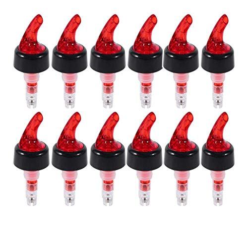 SODIAL Measure Liquor Pourer, 1 Oz Plastic Measured Liquor Pourer Auto Measuring Shot Chamber Pourer Pour Spout Stopper For Liquor Wine (Red, Pack Of 12) ()