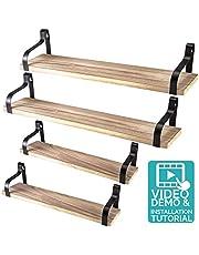 Nature Supplies Drijvende planken wandmontage, set van 4 stuks, natuurlijk, rustiek hout design, wandopslag, industriële decoratie, rekken voor slaapkamer, woonkamer, badkamer, keuken en op kantoor