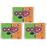 O-Cel-O Handy Sponge, 4.7-Inches x 3-Inches x 3/5-Inches, 12-Count (Colors May Vary)
