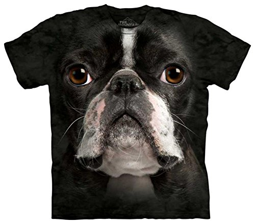 Mountain Boston Terrier Face Adult Size T-shirt , Black , (Boston Terrier Face)