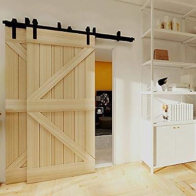 167cm(5.5FT) Kit de guía para puerta corredera Bypass Ferretería Polea de Rail suspendida sistema de puerta interiores en madera granero armario cuarto de, negro: Amazon.es: Bricolaje y herramientas