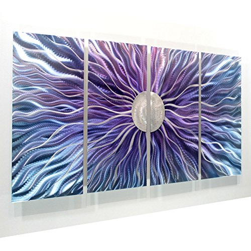 Large Blue, Purple, and Silver Metal Wall Art Painting - Panel Art, Wall