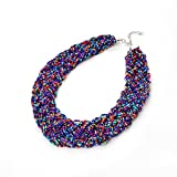 Umayo Beads Vintage Statement Necklace (Purple)