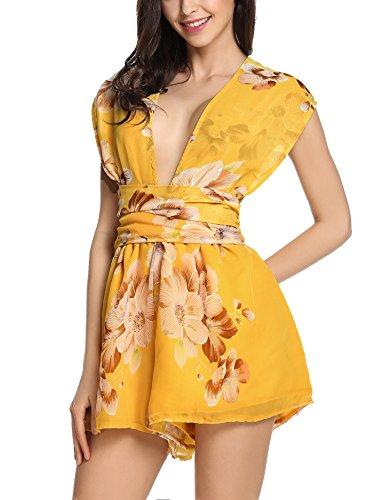 Yellow Floral Romper - Beyove Women's Women's V Neck Floral Print Tie Waist Short Romper Jumpsuit