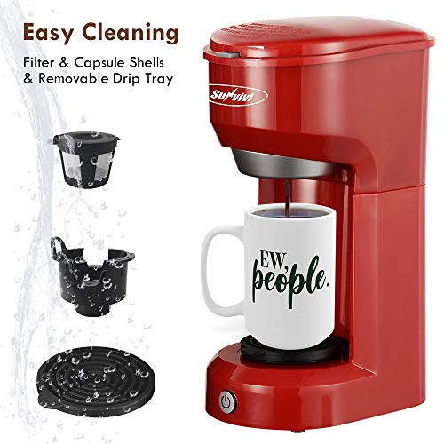 Single Serve Coffee Maker, Single Cup Coffee Maker for Capsule Pod Ground Coffee, Coffee Machine with Filter, Small Coffee Maker 6-14oz Reservoir One-Touch Button 1000W Fast Brew Auto Shut Off, Red