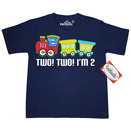Inktastic Big Boys' 2nd Birthday Two Two Train Outfit Youth T-Shirt Youth X-Small (2-4) Navy (Outfits For Tweens)