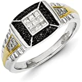 Sterling Silver and Gold Plated Black And White Rough Diamond Mens Ring - Ring Size Options Range: R to V