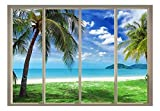 Cheap wall26 – Palm Trees Overlooking The Ocean and Other Islands Viewed from Sliding Door – Creative Wall Mural, Peel and Stick Wallpaper, Home Decor – 100×144 inches