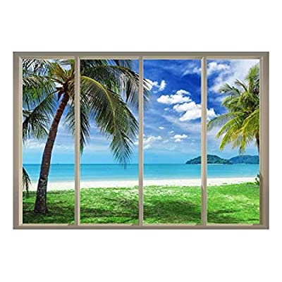 it is good, Wonderful Picture, Palm Trees Overlooking The Ocean and Other Islands Viewed from Sliding Door Creative Wall Mural Peel and Stick Wallpaper