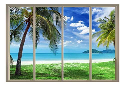 wall26 - Palm Trees Overlooking The Ocean and Other Islands Viewed from Sliding Door - Creative Wall Mural, Peel and Stick Wallpaper, Home Decor - 100x144 inches (Ocean View Mural Wall)