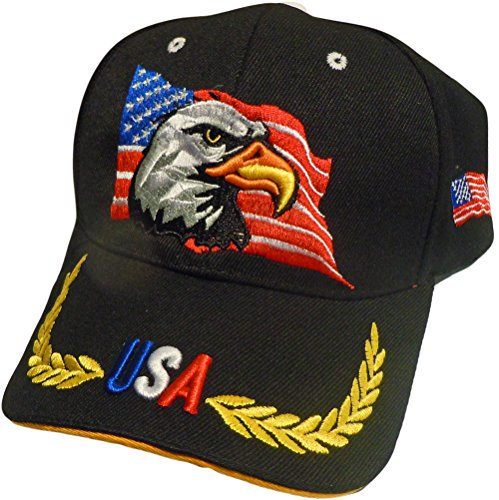 US Flag American Bold Eagle 3-D High Definition Embroidery Baseball Cap Hat (One Size) (Black) - Flying Eagle Embroidery