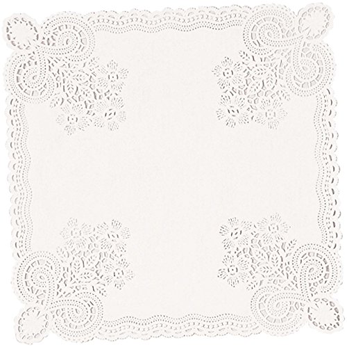 amscan Floral Paper Doilies, Square Doilies, Party Supplies, White, 10.5 inches, 20ct (Square Paper Lace Doilies)