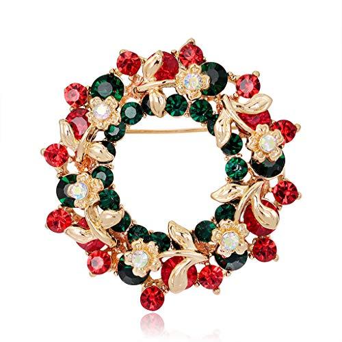 Mimgo Christmas Brooch Pins Ring Bell Rhinestone Jewelry Fashion Xmas Gift Decoration - Christmas Wreath No.AL054-A