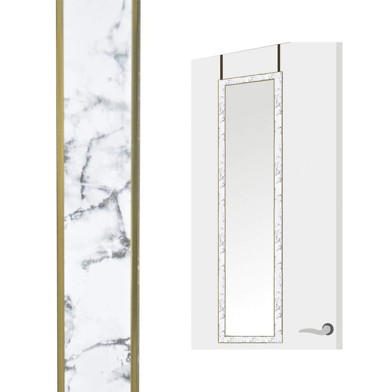 Hogar y Mas Espejo de Puerta Colgante para Dormitorio Espejos Originales Puerta 34x94 cm Blanco Dise/ño de M/ármol