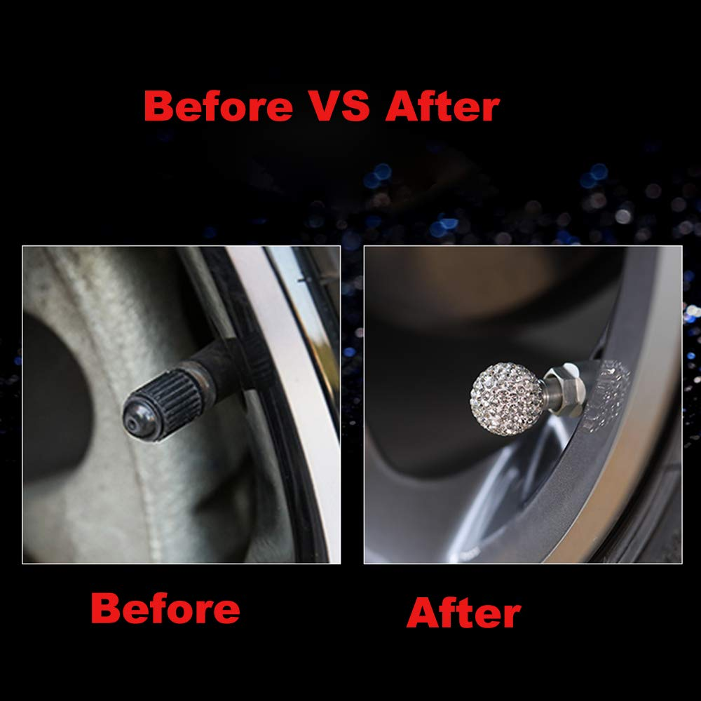 Trucks Motorbike Pink Alusbell Tyre Valve Dust Caps for Car Bike and Bicycle Crystal Rhinestone Tire Valve Dust-Proof Caps Bling Car Accessories Universal Fit