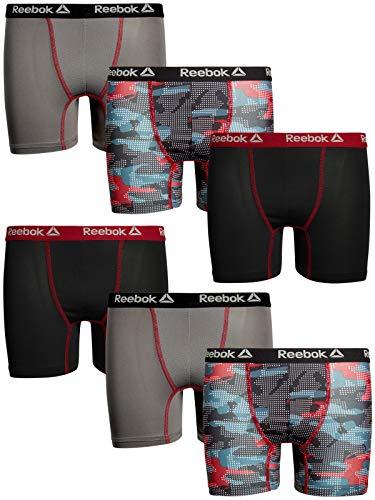 - Reebok Boys 6 Pack Performance Boxer Briefs (Charcoal/Black/Print, Medium (8/10)'