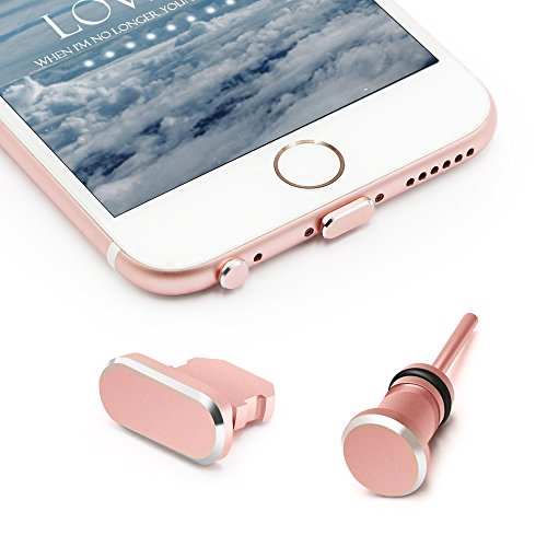 iPhone Anti Dust Plug Set, iMangoo Apple 8 Pin Charging Port Plug & 3.5mm Earphone Plug with Case for Easy Storage Protect iPhone Charge Port & Headphone Jack for iPhone 5 5s SE 5c 6s 6 Plus Rose Gold