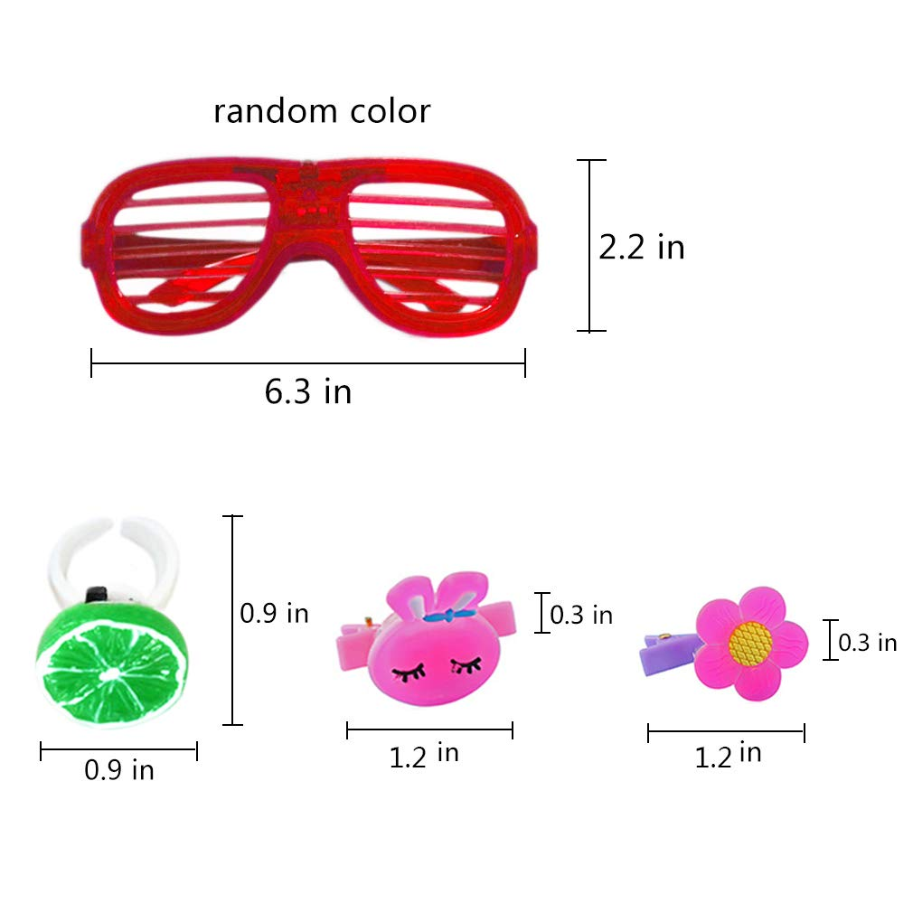 Yuccer 24 Pcs LED Jouets Lumineux Color/é Clignotant F/ête Accessoires Comprenant 14 Lumi/ères de Doigts 8 LED Pinces /À Cheveux et 4 Lumineuse Lunettes Couleurs Al/éatoires