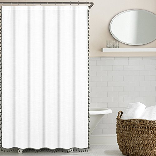 Tassel Shower Curtain, Grey (Curtain Tassel Shower)