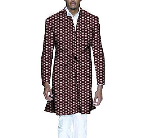 Highisa Men's Africa Wrap Jacket Dashiki Printing Floral Vogue Trench Coat 7 3XL by Highisa