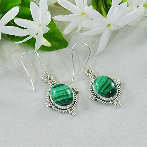 Sivalya 3.00 Ct Oval Natural Malachite Earrings in 925 Oxidized Sterling Silver, Genuine Gemstone Solid Silver French Hook Dangle Earrings 1.5