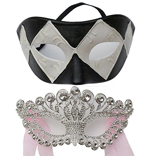 Handicraft Full Rhinestone Venetian Masquerade Ball Women Mask and Black White Grid for Party (Couples Style) by ZjpMask