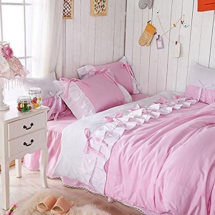 a4378d3e60 Amazon.com: FADFAY Home Textile,Korean White Ruffle Queen Bedding ...