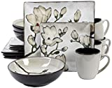 Gibson 16 Piece Claretta Reactive Glaze Floral Dinnerware, Gray/White For Sale