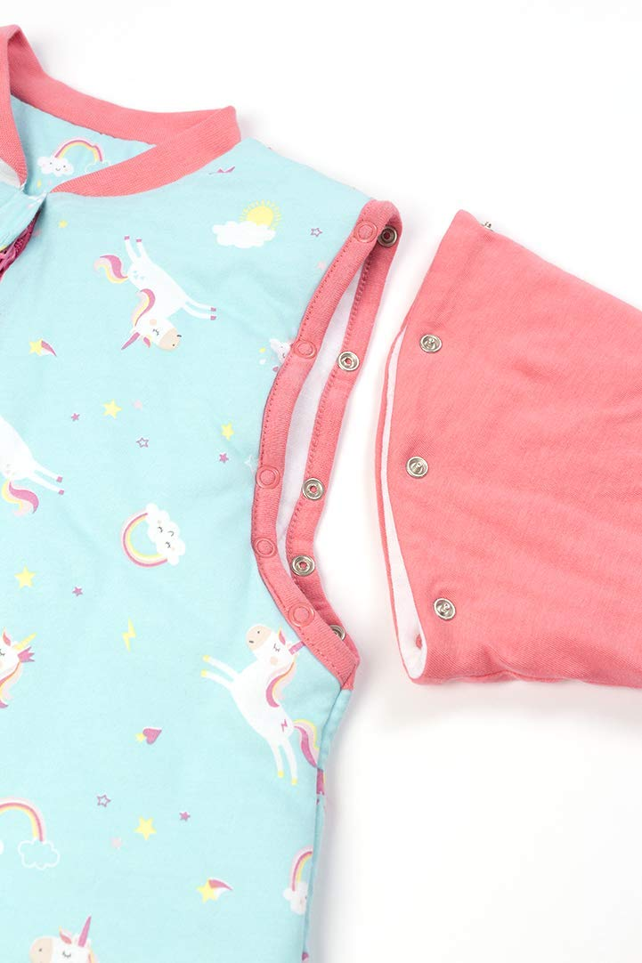 18-24 months//90 cm Slumbersac Sleeping Bag with Feet and Poppers 3.5 Tog SANS manches AOP Unicorn