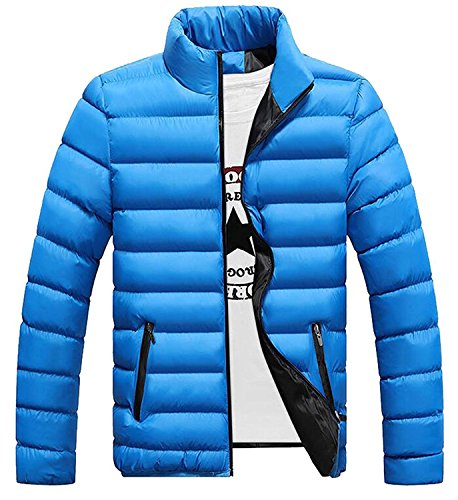 [Pilusooou Men's Down Puffer Jacket Stand Collar Slim Fit Padded Coat 1US-M] (Morph Suite)