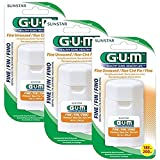 GUM Fine Unwaxed Dental Floss 200 Yards with Dispenser (Pack of 3)