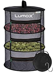 Lumo-X 3 Tier 400mm Drying Net Hanging Herb Drying Rack with Zippers and Collapsible Mesh for Buds, Flowers, and hydroponic Plant dehydrating