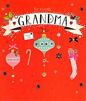 Lovely Grandma Christmas Greeting Card Embellished Special Xmas Cards