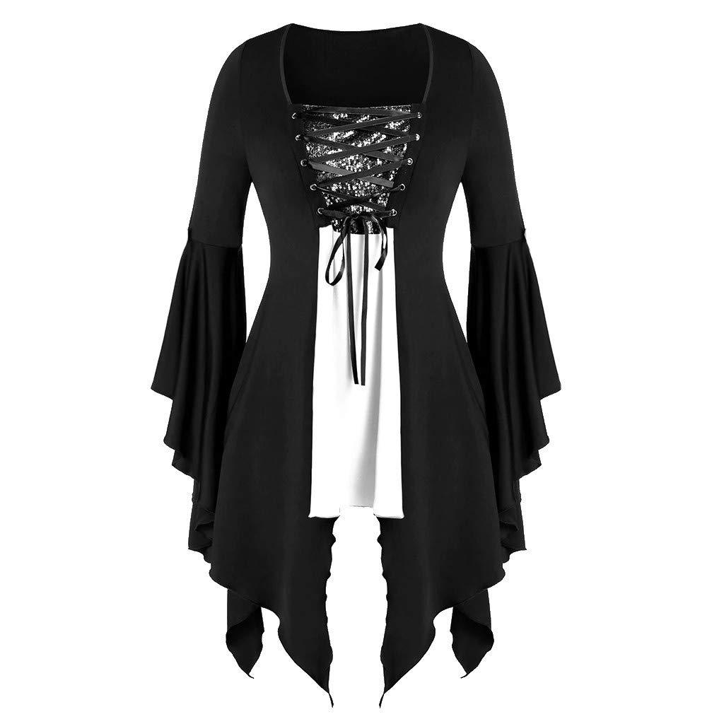 Womens Renaissance Costumes Hooded Robe ce Uper High Low LongDress Halloween Cloak LIM&Shop White by LIM&SHOP-Women Tops