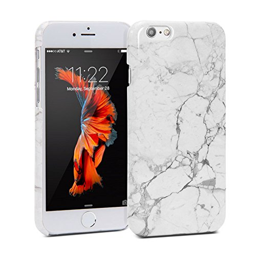 Snap Cover Glossy for iPhone 6 / 6s (4.7 Display) – White Marble II Pattern Slim Hard Back Case (Marble Flannel)