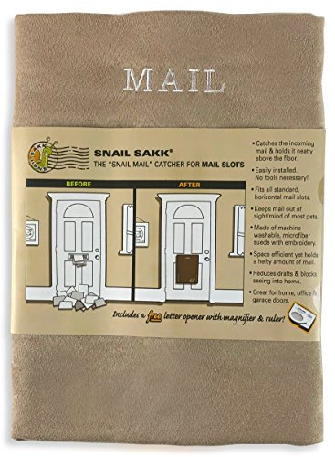SNAIL SAKK: Mail Catcher For Mail Slots - TAN. No tools/screws necessary! Space efficient, reduces drafts, and more! For home, office, and garage doors. | Basket, Letter Cage, Door, Bag |